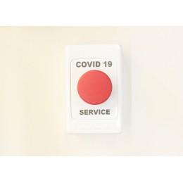 COVID 19 Button - COVID 19 SERVICE BUTTON RED N/C