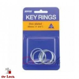 Kevron 10 pack zinc plated key rings 25 mm